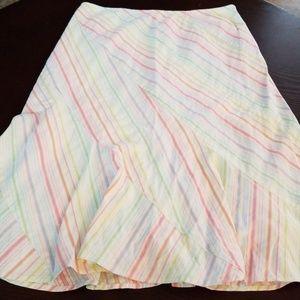 Anthropologie Odille Rainbow Striped Skirt  sz 6